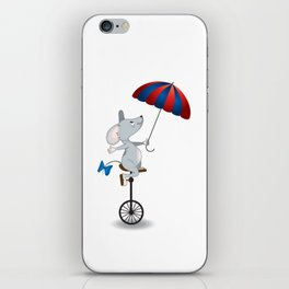 Mouse on unicycle iPhone Skin