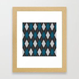 Argyle knit winter sweater pattern blue Framed Art Print