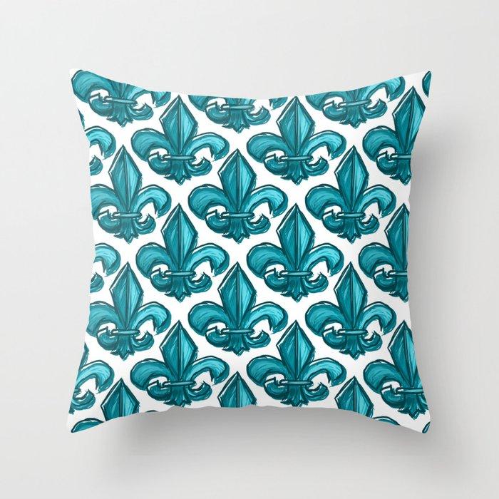 Cyan Fleur De Lis Throw Pillow By Anertek Society6
