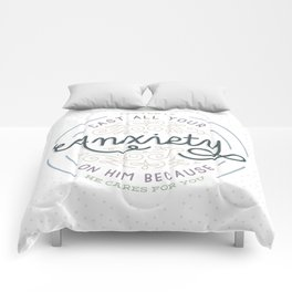 """""""Cast All Your Anxiety on Him"""" Bible Verse Print Comforters"""