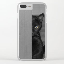 Cat playing hide and seek Clear iPhone Case