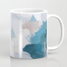 Turquoise Navy Blue Blush Pink Gray White Abstract Painting, Modern Wall Art, Digital Print Coffee Mug