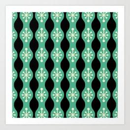 Mid Century Modern 148 Green Beige and Black Art Print