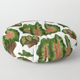 Potted Big Green Pink Leaves Floor Pillow
