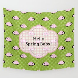 Pastel Sheep - Hello Spring Baby! Wall Tapestry