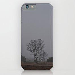 Misty Morning Tree on the Moors | Scenic Landscape photography - Fog Netherlands iPhone Case