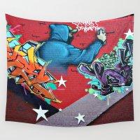 graffiti Wall Tapestries featuring graffiti by mark ashkenazi