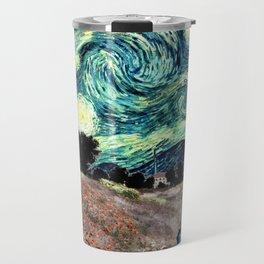 Monet's Poppies with Van Gogh's Starry Night Sky Travel Mug