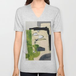 Abstract cactus green and gray field illustration Unisex V-Neck