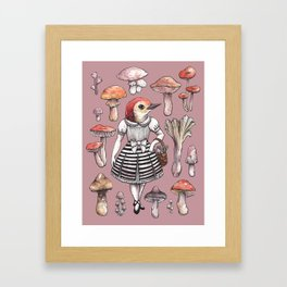 Mushroom Pickers - Lady Woodpecker Framed Art Print