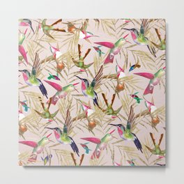 Colorful pink green hummingbird faux gold floral Metal Print