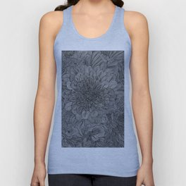 Black and White Floral Line Drawing Unisex Tank Top