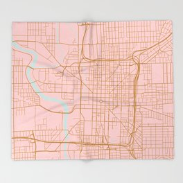 Pink and gold Indianapolis map Throw Blanket
