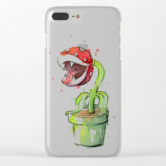 Piranha Plant Watercolor Geek Gaming Mario Art Clear iPhone Case
