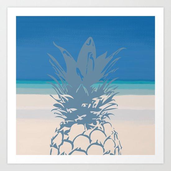 Pineapple Tropical Beach Design Art Print