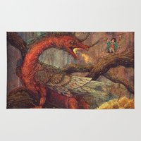 smaug Area & Throw Rugs featuring Dragons Lair by Angela Rizza