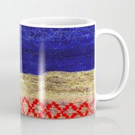 V24 New Blue Calm Traditional Moroccan Carpet Texture. Coffee Mug