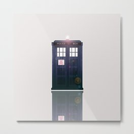 Tardis Shine Shadow Metal Print