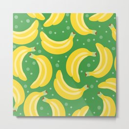 Vector bananas in a green background Metal Print