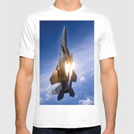 f-15 jet launching missile T-shirt