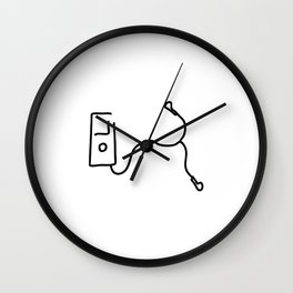 music by mp3 and earphone Wall Clock