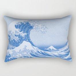 Cerulean Blue Porcelain Glaze Japanese Great Wave Rectangular Pillow