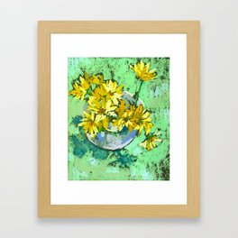 Yellow chrysanthemums in a vase. Soft pastel. Framed Art Print