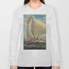 Vintage Painting of a Fast Sloop Sailboat (1895) Long Sleeve T-shirt