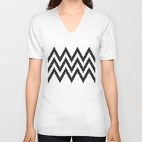 chevron V-neck T-shirts featuring Chevron by Marta Li