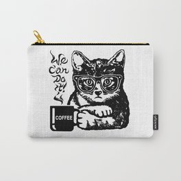 Funny cat motivated by coffee Carry-All Pouch