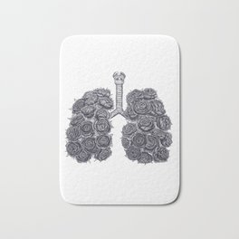 Lungs with peonies Bath Mat