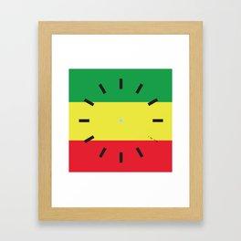 4:20 Clock - Rasta Flag Square Framed Art Print