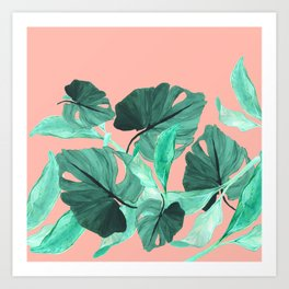 Jungle Foliage (Peach) Art Print