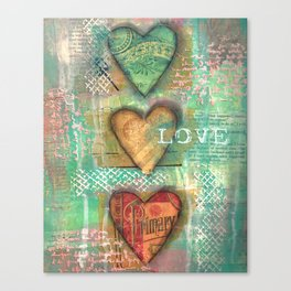 3 Hearts of Love Canvas Print