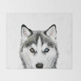 Siberian Husky dog with two eye color Dog illustration original painting print Throw Blanket