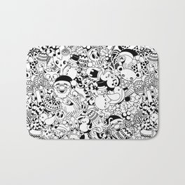 Christmas Doodles Funny and Cute Black and White Characters Bath Mat