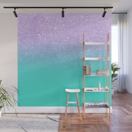Modern mermaid lavender glitter turquoise ombre pattern Wall Mural