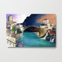 Mostar Old Town Panorama, Stari Most Bridge, Bosnia and Herzegovina by Tivadar Csontváry Kosztka Metal Print