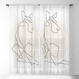 Dog Printable Modern Minimalist Wall Art Poster Creative Abstract Black White Line Zen Studio Room Decor Digiral Download Sheer Curtain