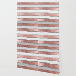 Gray faux silver rose gold geometrical wave stripes Wallpaper