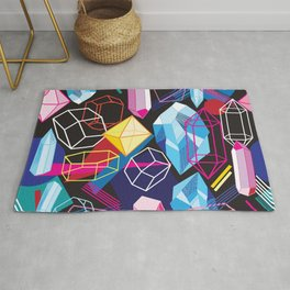 Beautiful seamless pattern with colorful crystals on a dark abstract background Rug