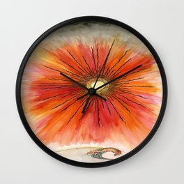 Sunburst Collection: Red Sky Sunburst with a Single Wave Wall Clock