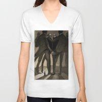 kafka V-neck T-shirts featuring Kafka by Cory Michael Ecker