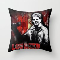 lou reed Throw Pillows featuring Lou by Alan Hogan