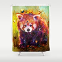 red panda Shower Curtains featuring red panda by ururuty