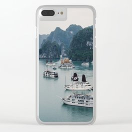 The Boats and Limestone Cliffs of Halong Bay, Vietnam Clear iPhone Case