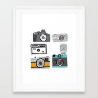cameras Framed Art Prints featuring Cameras by Josh Ross