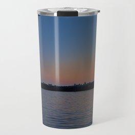 Lighthouse at Harbor Deep Sunset Travel Mug