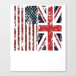 Union Jack British American Flags Canvas Print