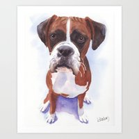 boxer Art Prints featuring Boxer by ArtEndeavors